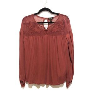 5/$15 Rust-Colored Floral Peasant-Style Blouse